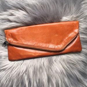 HOBO Cognac Brown Leather Fold Over Clutch Purse